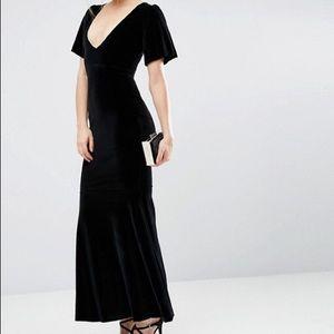 Asos black velvet fishtail dress
